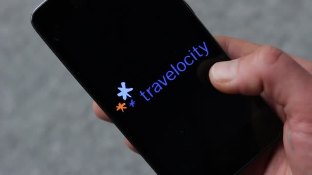 Major Online Travel Agencies. Logos on smartphone screen. Orbitz Worldwide, Sabre Holdings, Travelocity, TripAdvisor, Go Voyages