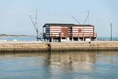 Fotografie Fishing hut in the port of Cesenatico