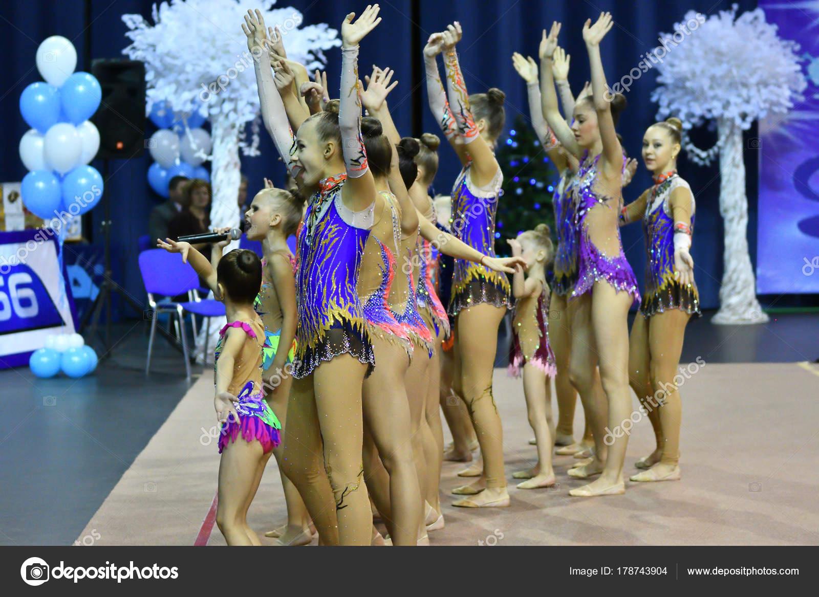 Orenburg, Russia - November 25, 2017 year: girls compete in rhythmic