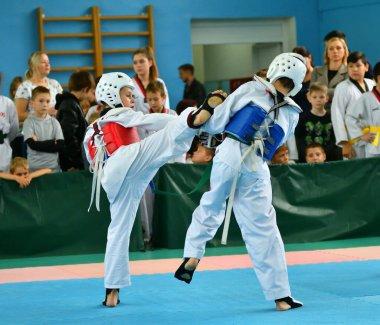 Orenburg, Russia - October 19, 2019: Boys compete in taekwondo