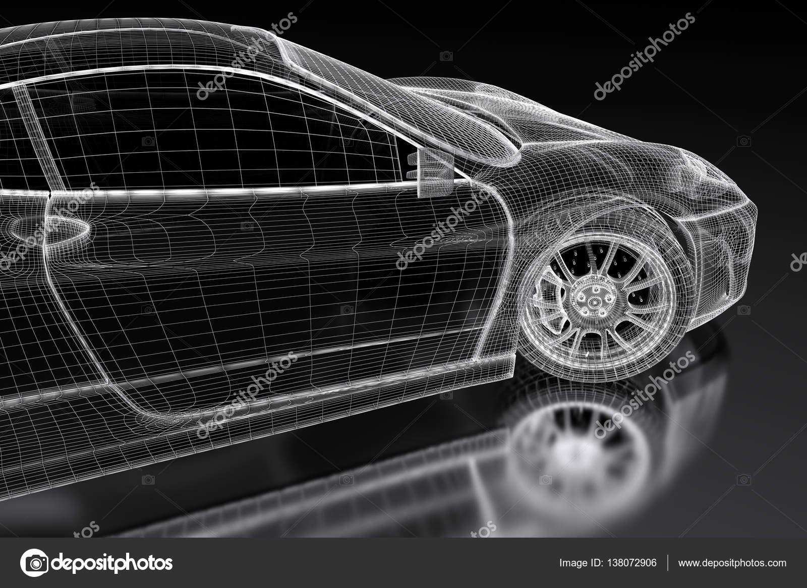 3D Auto-Netz auf einem schwarzen — Stockfoto © Shtanzman #138072906