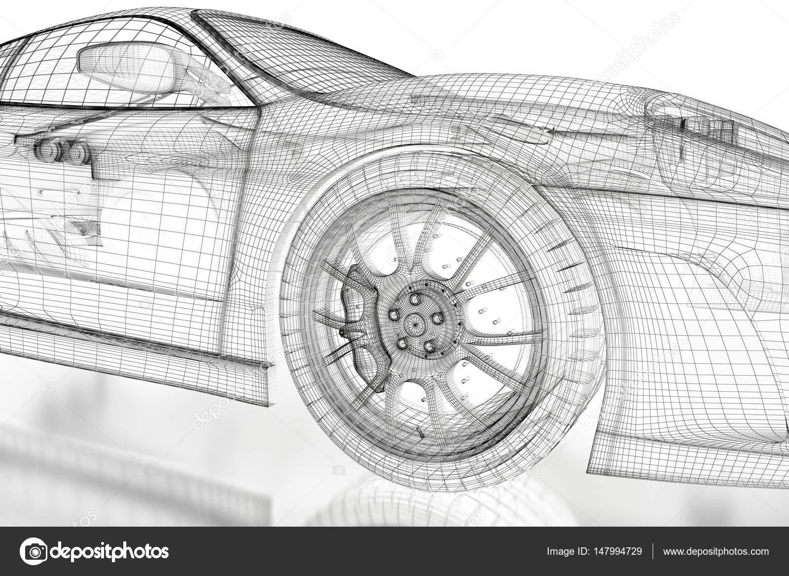 3D Auto-Netz auf ein weißes — Stockfoto © Shtanzman #147994729