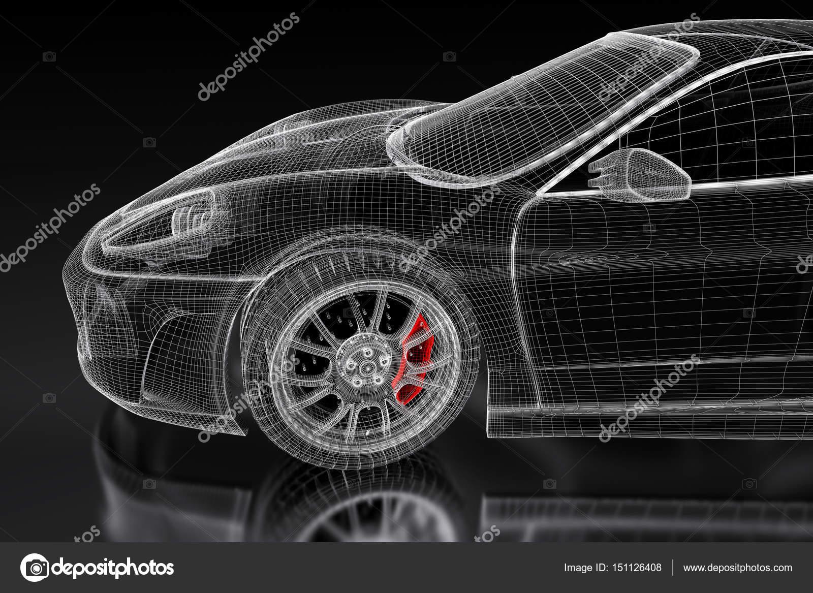 3D Sportauto auf einem schwarzen — Stockfoto © Shtanzman #151126408
