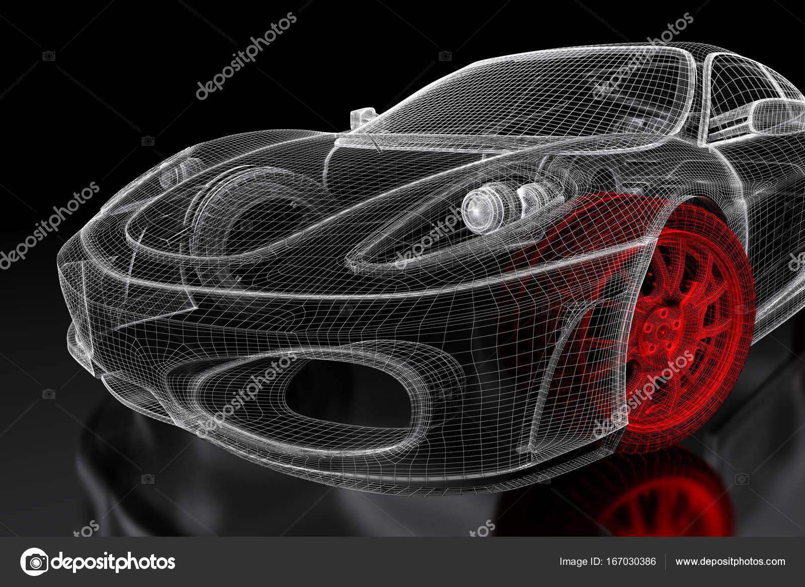 3D Auto-Netz auf einem schwarzen — Stockfoto © Shtanzman #167030386