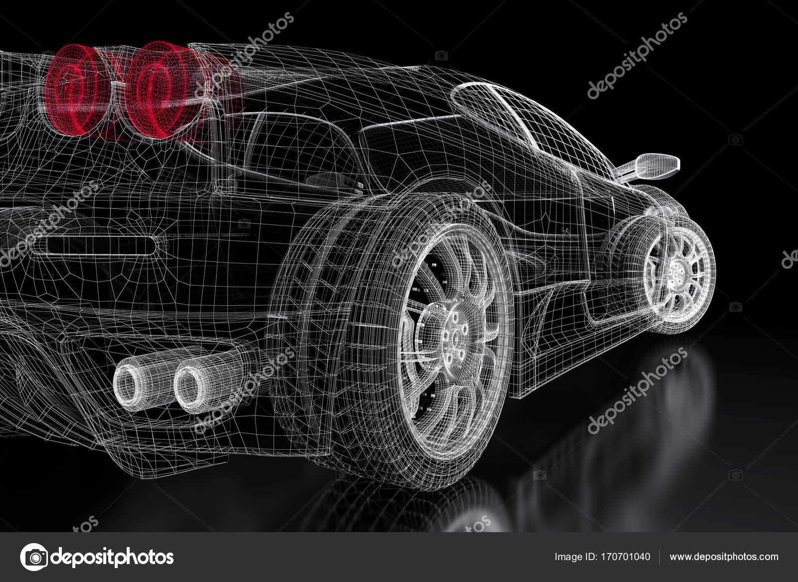 3D Auto-Netz auf einem schwarzen — Stockfoto © Shtanzman #170701040