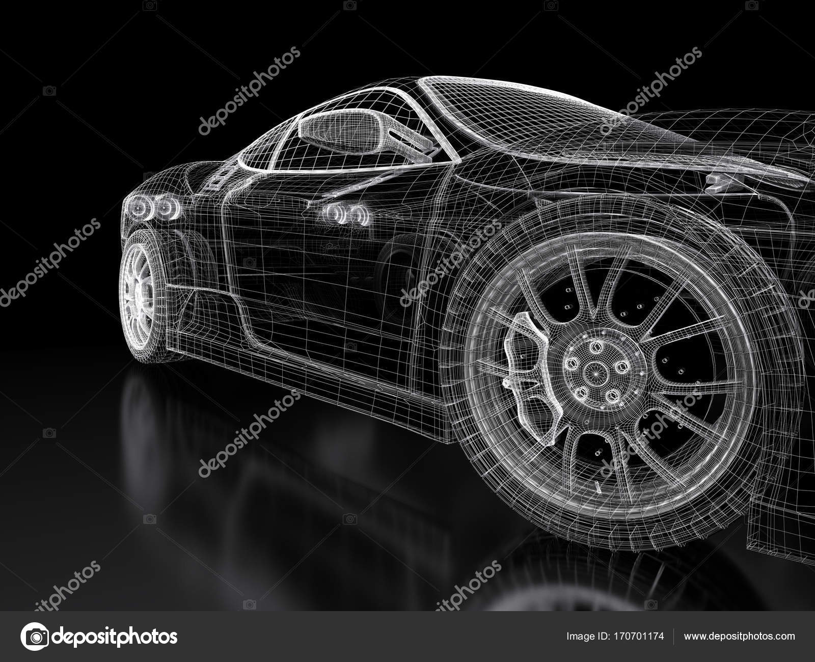 3d car mesh on a black stock photo shtanzman 170701174 car vehicle 3d blueprint mesh model on a black background 3d rendered image photo by shtanzman malvernweather Choice Image