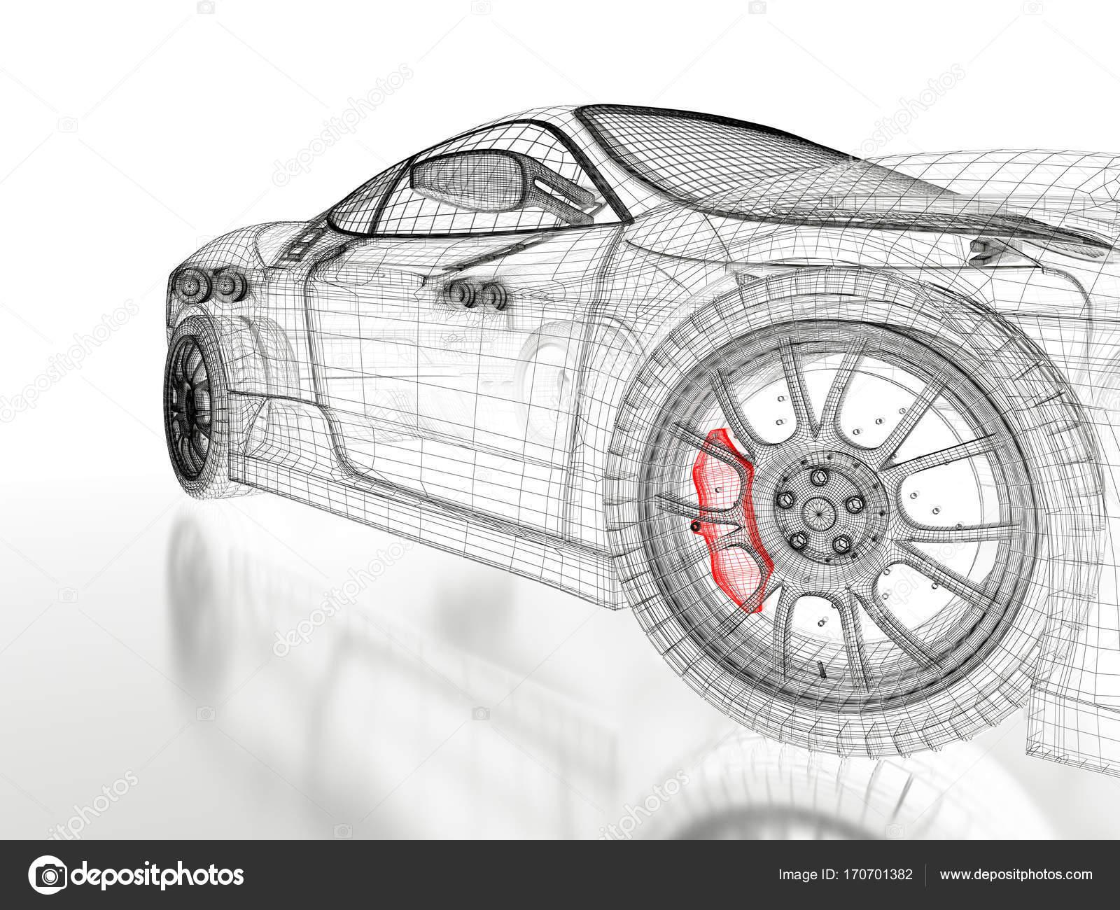 3D Auto-Netz auf einem schwarzen — Stockfoto © Shtanzman #170701382