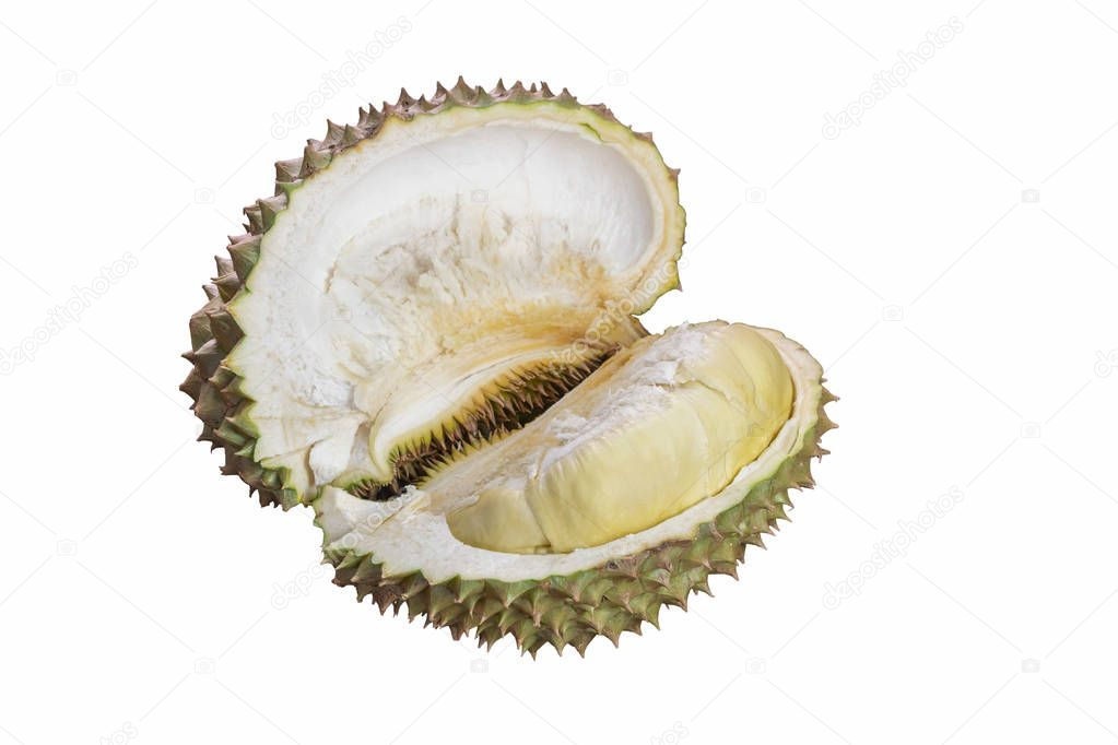 Durian peeled on white background
