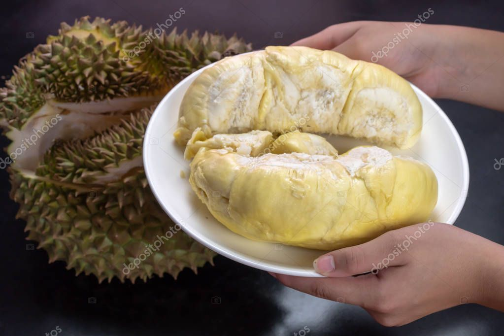 Hands holding durian peeled on white plate