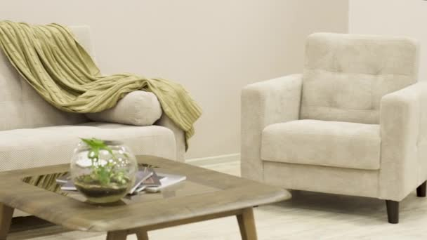 Cozy white textile sofa with design chair and a decorative plaid