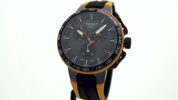 Le Locle, Svájc 15.01.2020 - Tissot man óra rozsdamentes acél tok, fekete óra számlap, sport gumi szíj, svájci kvarc mechanikus óra elszigetelt, svájci gyártmány