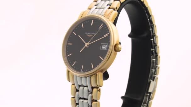 Saint-Imier, Switzerland, 2.02.2020 - Longines watch black clock face dial stainless steel bracelet . classic elegant swiss made watches