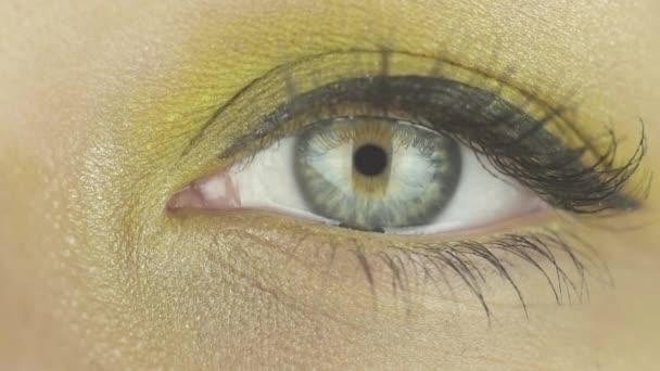 Ein weibliches Auge mit gelbem Make-up offen, blinzelt, blickt direkt in die Kamera. Makro