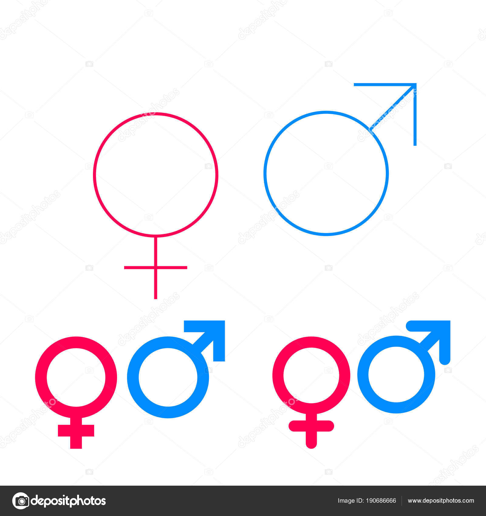 Male And Female Vector Isolated Gender Symbols Set On White