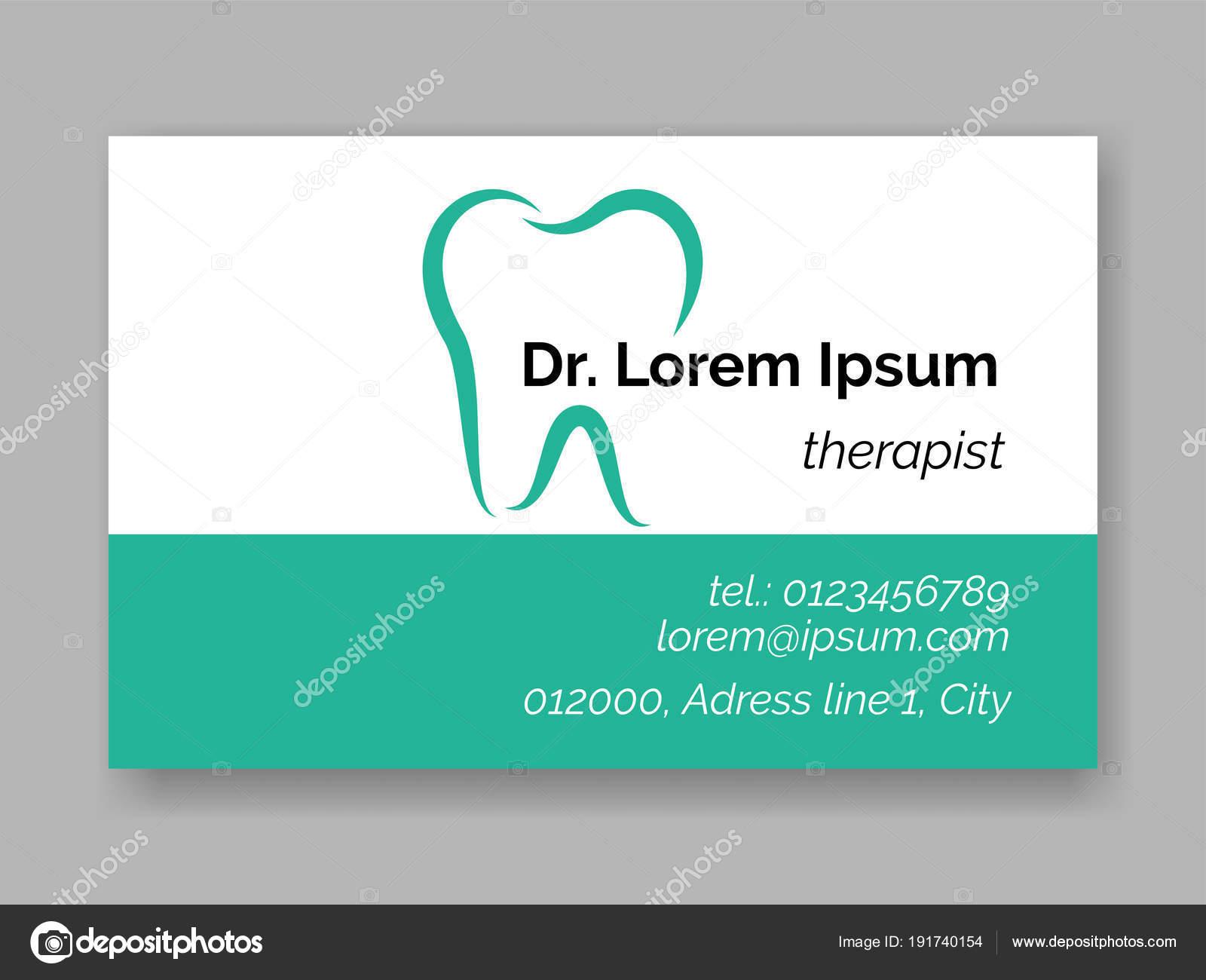 Dental Zahn Logo Zahnarzt Visitenkarte Vektor Stockvektor