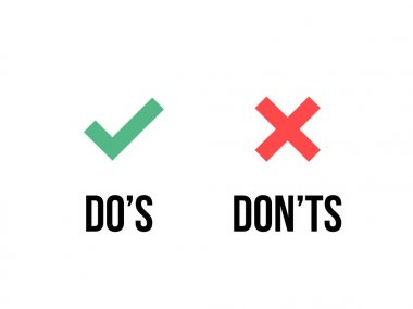 Do and Dont check tick mark and red cross icons isolated on transparent background. Vector Do's and Don'ts checklist or choice option symbols stock vector