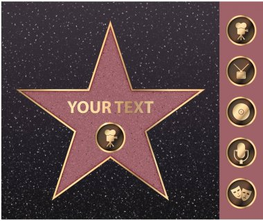 Hollywood star on celebrity fame of walk boulevard. Vector symbol star for iconic movie actor or famous actress template. Gold hollywood star with camera sign on black floor background with texture stock vector