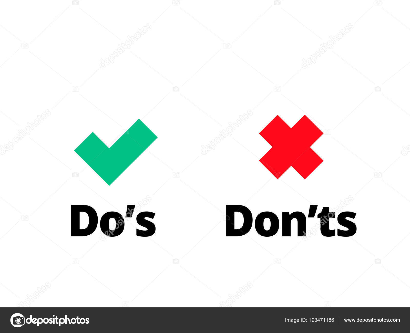 Do and Dont check tick mark red cross vector icon — Stock