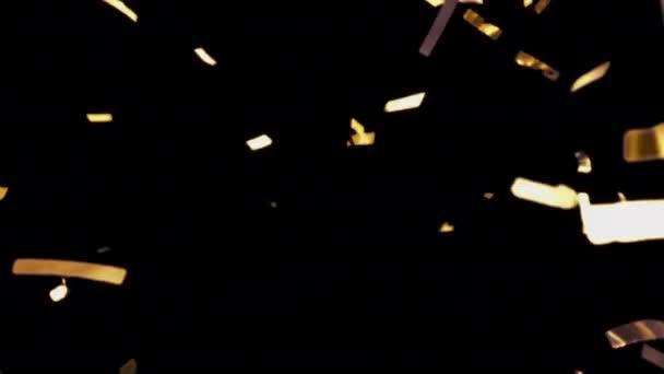 Arany konfetti leesik. Sokszínű csillámpor. Sugarak, ragyogás, ragyogás, szivárvány. Realisztikus Golden Confetti. Luxus csillogó részecskék. Újév, Karácsony, buli, születésnap, koncert.