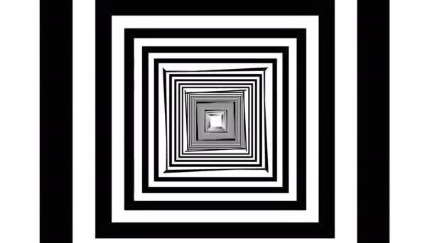 Černý abstrakční tunel. Leť skrz mřížku. Wareframe. Grafika v pohybu, animace na pozadí.Digitálně generovaná animace soustředných čar.