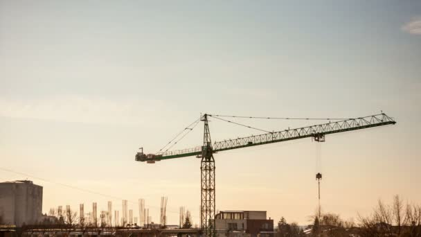 Timelapse of a Sunset Through A Crane