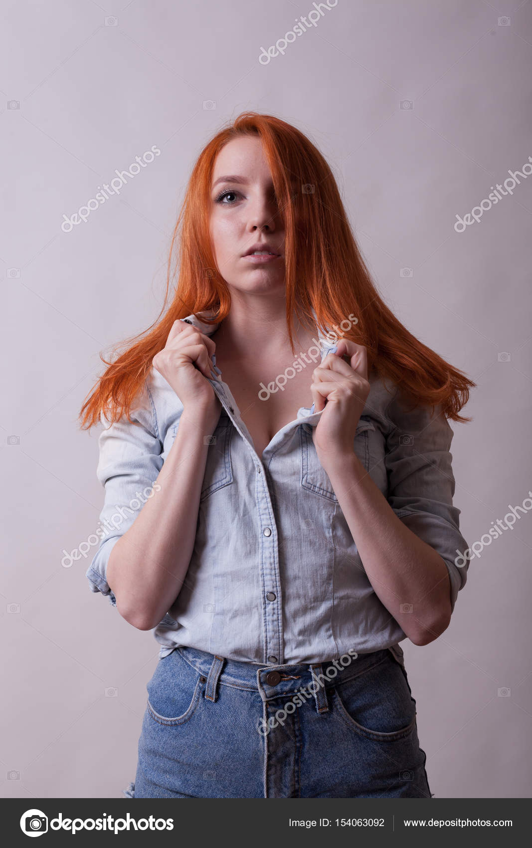 Amazing Busty Redhead Woman In Studio Photo Stock Photo C Dragoscondreaw 154063092