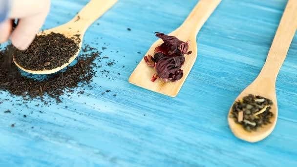 Uvedení bylinkový čaj listy v dřevěné lžíce