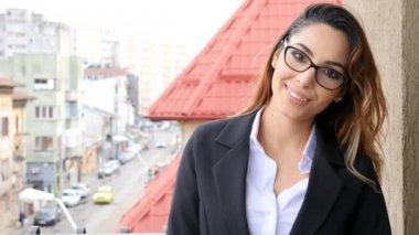 Portrait of caucasian businesswoman smiling to the camera