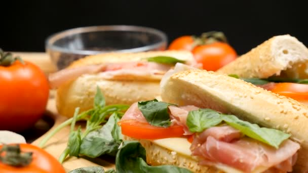 Healthy and delicous homemade sandwich in the kitchen on wooden board