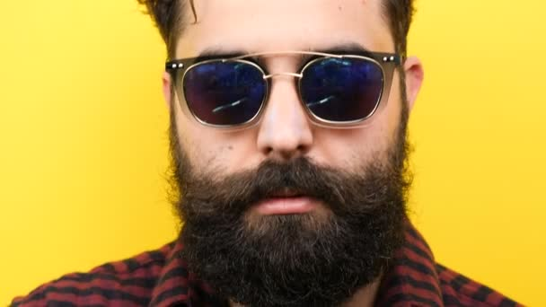 Natural smiling long bearded hipster with his sunglasses on