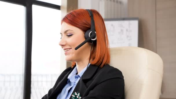 Sales representative with a headphones set on talking