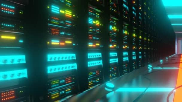 Stojany se servery v datovém centru