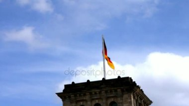Flags on Reichstag, Germanys Parliament Building