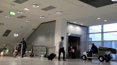 Employee Delivers the Disabled Person in the Stroller to His Voyage in One of the Halls of the International Airport