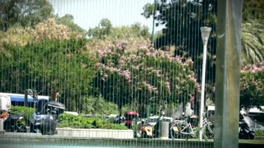 Flat Vertical Wall Fountain on One of the City Busy Highways