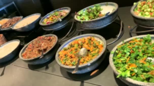 Breakfast Buffet Concept, Breakfast Time in Luxury Hotel. Blurred view. 4K