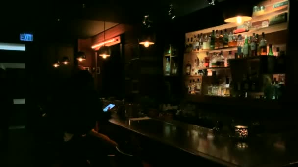 Night image of a cafe or bar interior