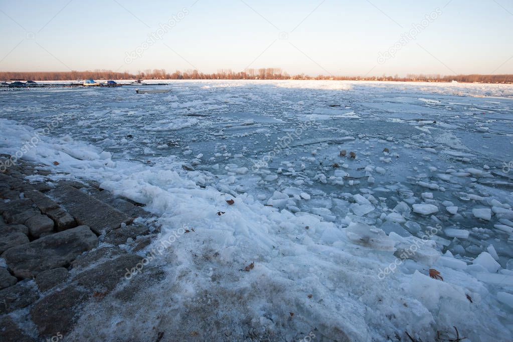 Ice blocks over the frozen river