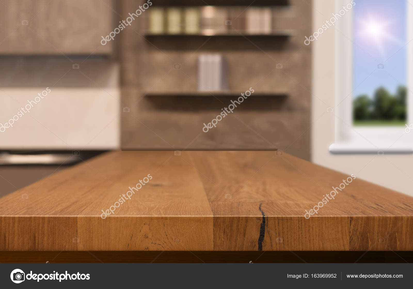 Wood Table Top As Kitchen Island On Blur Background Can Be Used For Display