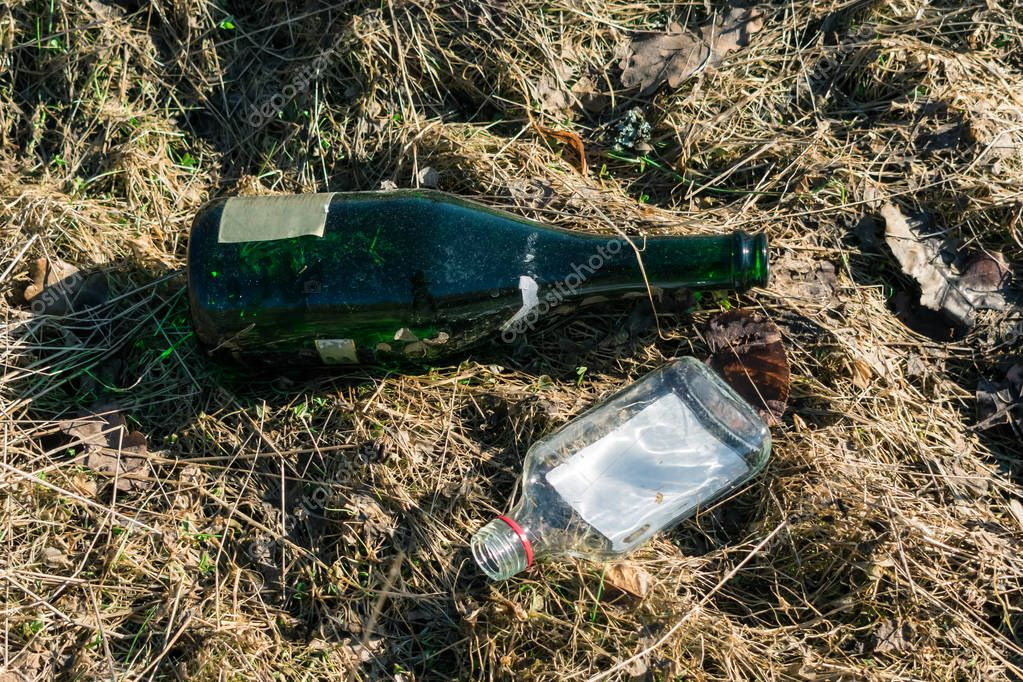 Two empty glass bottles thrown on the ground.