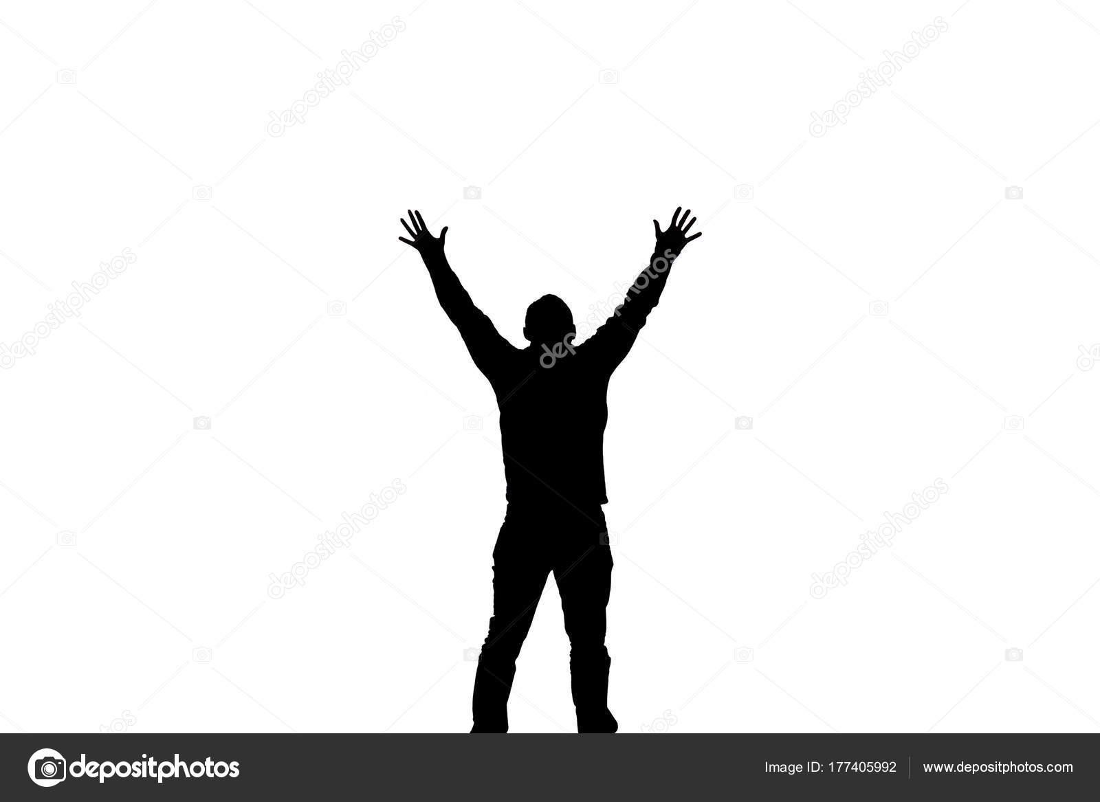 Hombre Feliz Silueta Hombre Levantando Las Manos Aislado