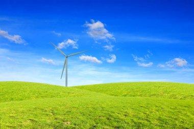 One windmill on green hill