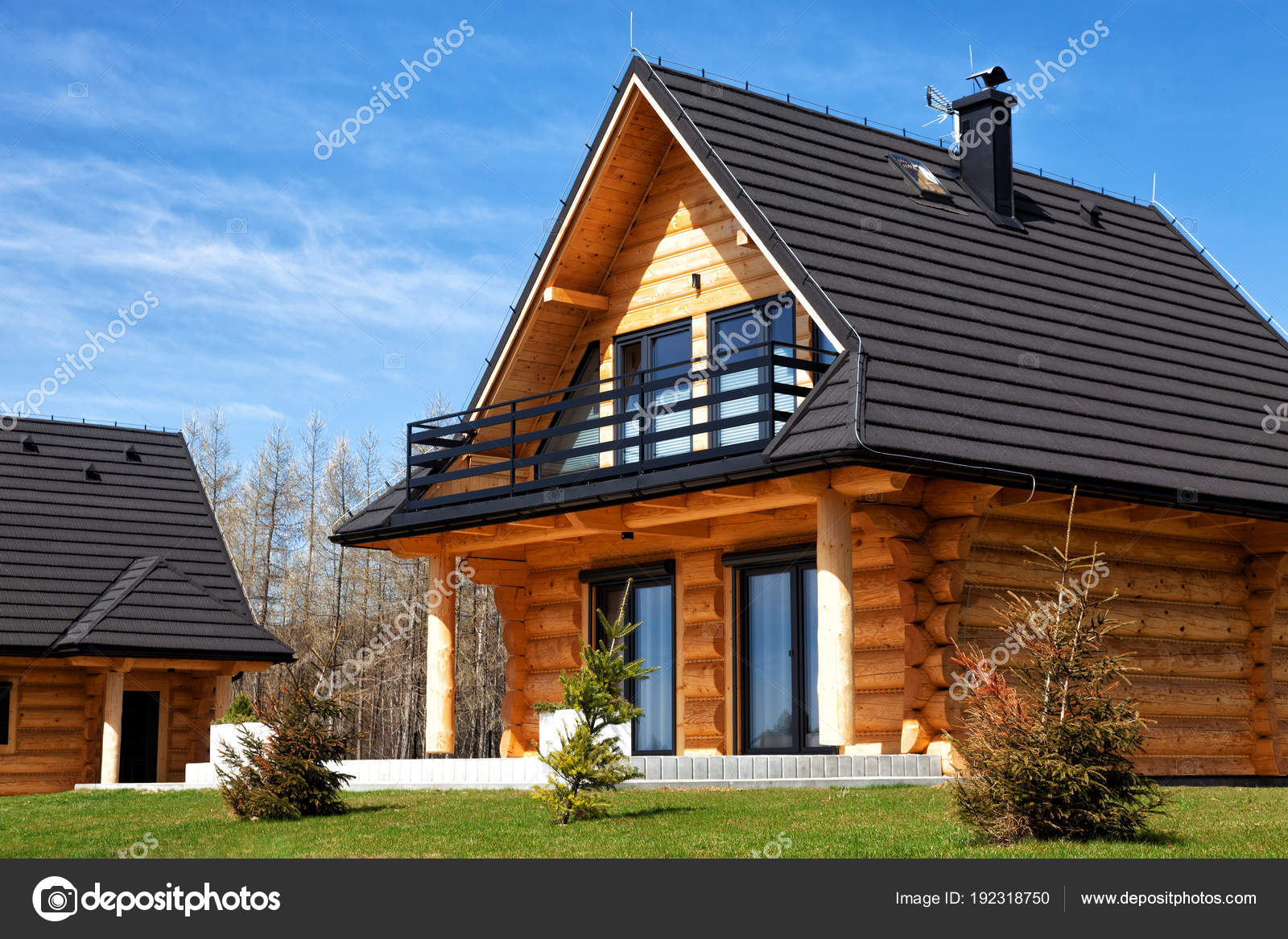 A housing estate of modern wooden houses stock image