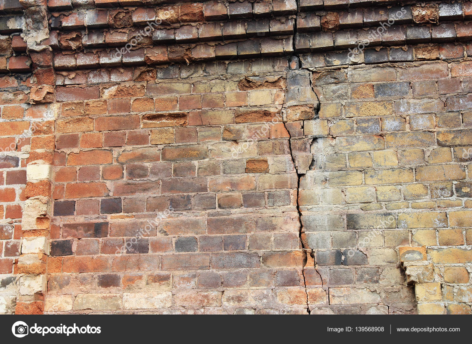 Close Up View Of Cracked Old Building Brick Wall With Eroded Bricks On Top Background Concept Photo By Ekays