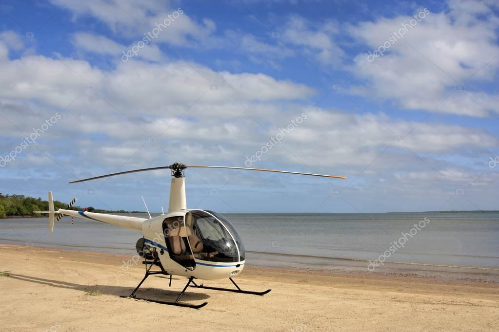Weipa helicopter on the beach