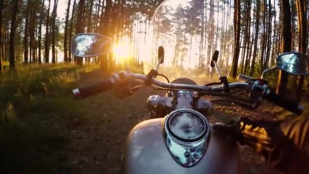 Motorkář na motorce v lese. POV videa