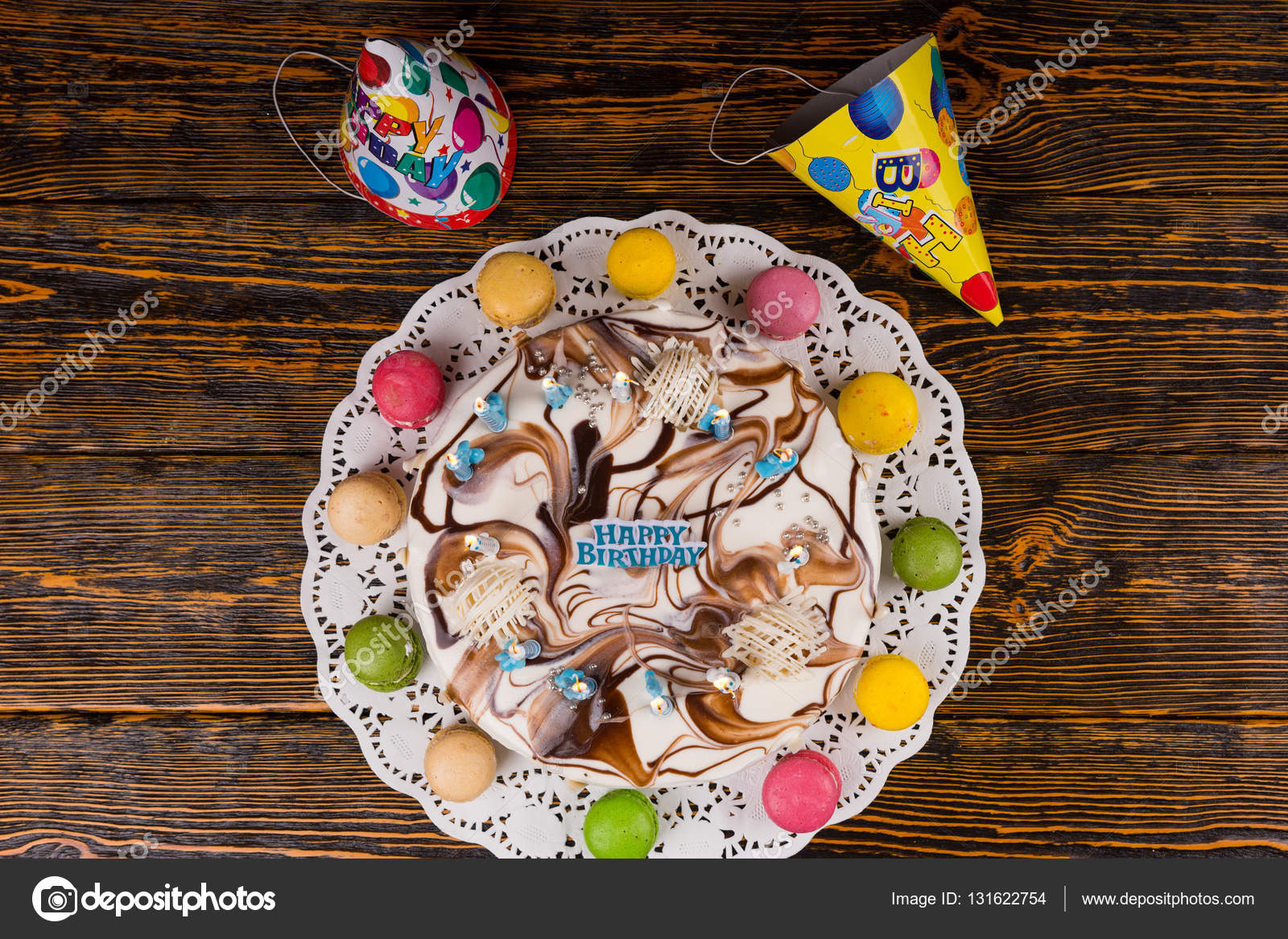 Top View On Homemade Birthday Cake With Lots Of Burning Candles Stock Photo
