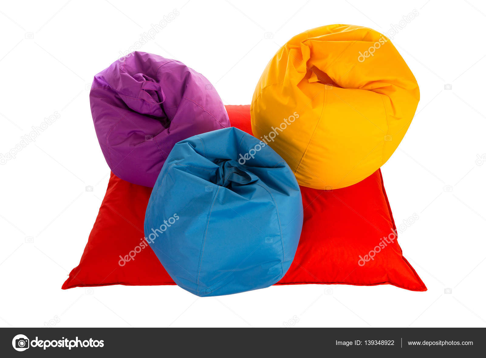 Astonishing Top View On Purple Blue And Yellow Beanbag Chairs On Red Machost Co Dining Chair Design Ideas Machostcouk