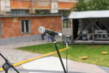 Close up of microphone on a stage
