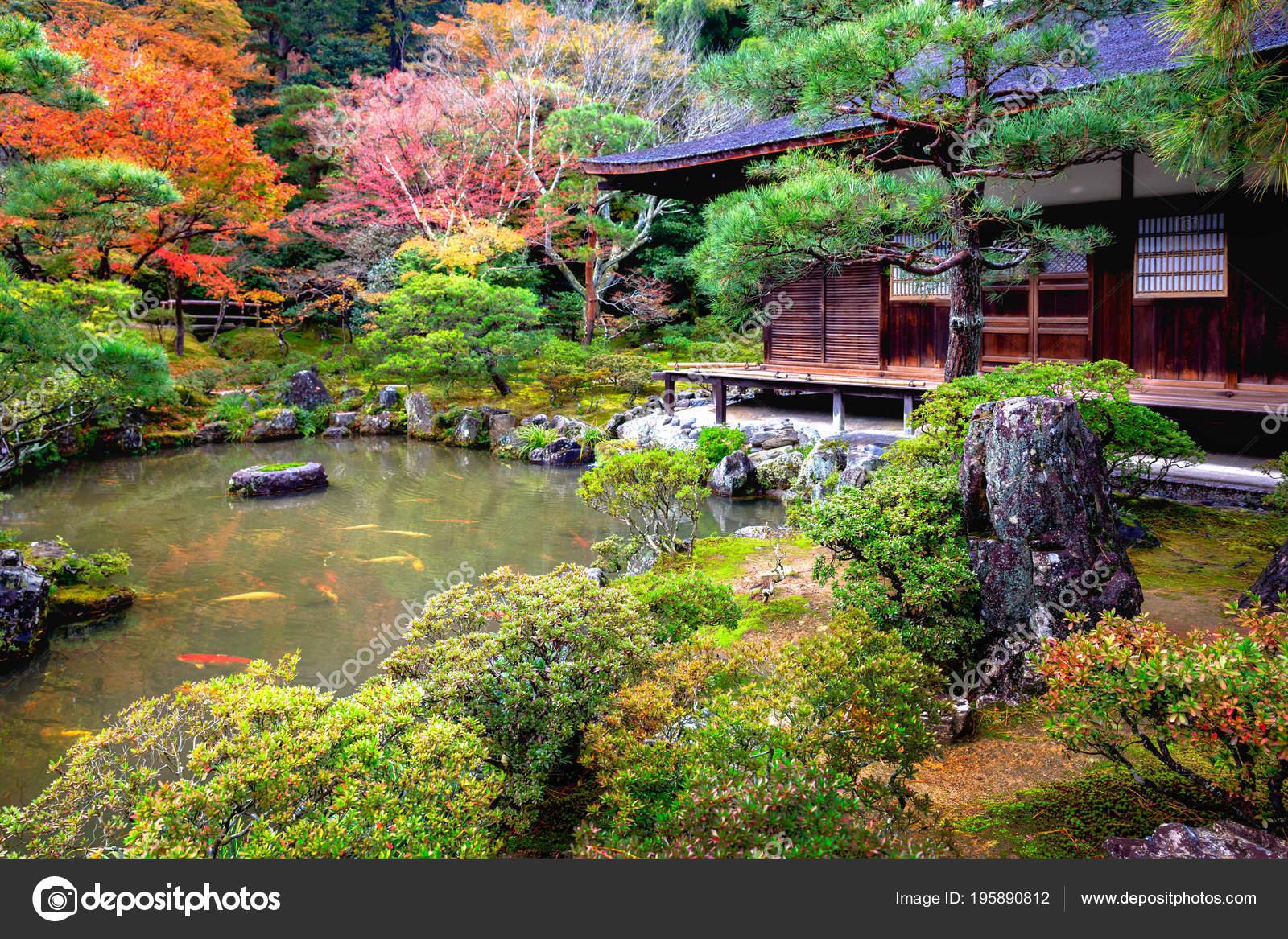 Jardin Japonais Dans Temple Ginkakuji Kyoto Japon Photographie